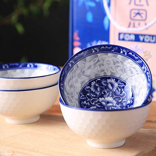 Keramikschale Obstsalatschale Dessertschale Rutschfeste Schüssel Keramikschale Vierteilige Blaue Und Weiße Porzellanschale Keramikschale Geschirr Suppenschüssel