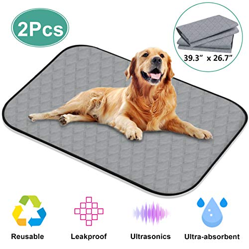 Washable Pee Pads for Dogs, 39.3' x 26.7' 4 Layers Design with Anti-Skid Bottom Wee Wee Pads / Training Reusable Kennel Mat / Dog Training Pads, 2pcs