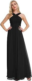 Alicepub Crisscross High-Neck Chiffon Bridesmaid Dress Long Formal Dresses Prom Evening Gown