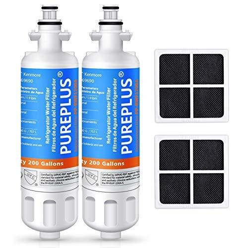 PUREPLUS 469690 Replacement for LG LT700P Kenmore Elite 9690, ADQ36006102, ADQ36006101, LFXS30766S, LFX28968ST, LFX31925ST, LFX31945ST, RWF1052, LT120F Refrigerator Water and Air Filter, 2Pack