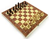 Chess Set Fold Away Board Quality Handmade Wooden Pieces Complete FIDE Compliant Stimulate Your Brain Exercise...