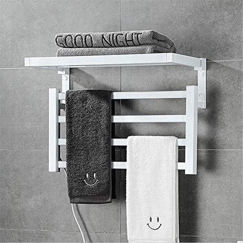 Abodos Calentador De Toallas Eléctrico, Espacio De Aluminio Montado En La Pared Baño Inteligente De Temperatura Constante Calentador De Toallas De Baño Calentador De Toallas, 57×39×10CM,Blanco