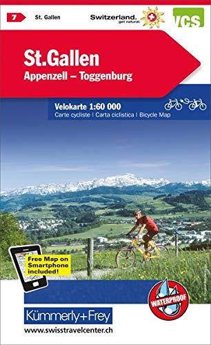 St. Gallen, Appenzell, Toggenburg Velokarte Nr. 7: 1:60000, waterproof, Freemap on Smartphone included