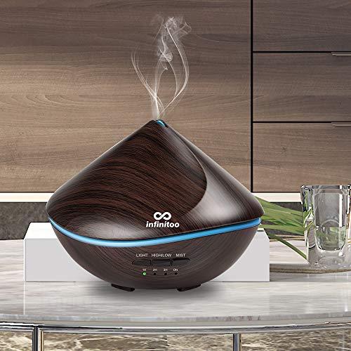 Diffuseur D'huiles Essentielles Electrique   Infinitoo 500ML Diffuseur Ultrasonique   Arrêt Automatique   4 Réglable de Temps et 7-Couleur Changement, Parfait pour Maison