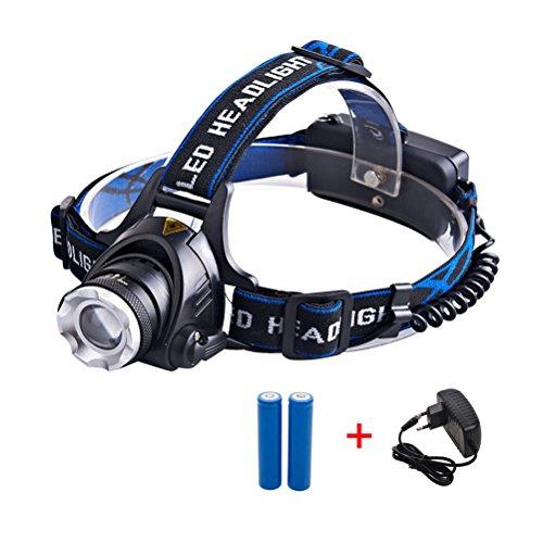 LED Stirnlampe Led Kopflampe, super helles Kopf fackel Fischenlicht CREE XML T6 Hochleistungs-LED-aufladenscheinwerfer-Summen mit nachladbaren Batterien und Aufladeeinheit