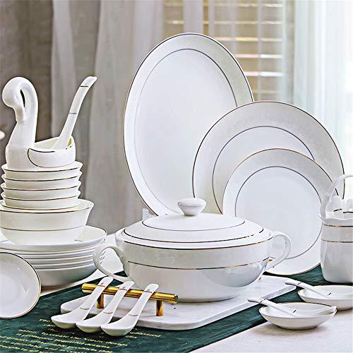 Juego de cubiertos 58 de lujo con Jingdezhen Bone China platos palillos conjunto cerámica combinación