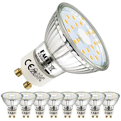 EACLL GU10 LED 5W 4000K Neutralweiß Leuchtmittel 495 Lumen Birne kann Ersetzen 50W Halogen. AC 230V Kein Strobe Strahler, Abstrahlwinkel 120° Spotleuchten, Neutralweiss Licht Reflektor Lampen, 8 Pack