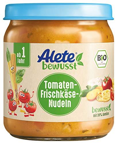Alete Bio Gläschen Tomaten-Frischkäse-Nudeln, Babynahrung in Bio-Qualität, ohne Zusatz von Aromastoffen & Zucker, Menü ab 1 Jahr, 6er Pack (6 x 250 g)
