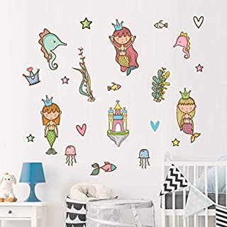 JK furniture Under The Sea,Mermaid Hippocampus Seabed World Wall Decor Stickers Decals for Kids Rooms,Bedroom,Nursery,Removable Peel and Stick (Mermaid)