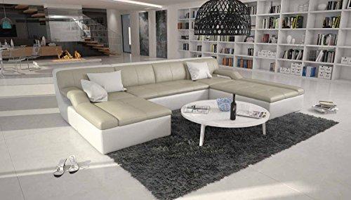 SalesFever Große Wohn-Landschaft mit Kunstleder Bezug Creme/weiß 335x235 cm U-Form | Varegua-U | Moderne Sofa-Garnitur Recamiere rechts | Polster-Couch für Wohnzimmer Creme/Weiss 335cm x 235cm