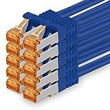 Cat7 Cable de Red Ethernet LAN - 0,25m - Azul - 10 Piezas Cat 7 Sftp Pimf Lszh - 10 GB s RJ45 Connectores Cat6a Compatible con Cat5 Cat6 Cat.7 Cat8
