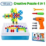 Mosaik Steckspiel DIY 3D Puzzle Spielzeug Bausteine Schraube Konstruktionsspielzeug Montage