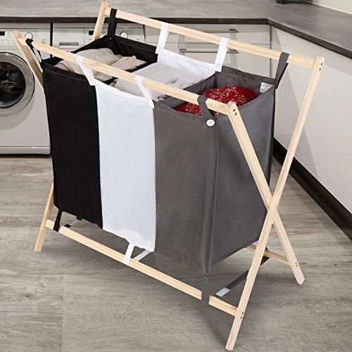 Jago® Wäschesortierer - faltbar, 3 Fächer aus Stoff, aus Holz, dreifarbig, ca. 128 l Volumen, Größe (L/B/H): 75/40/72 cm - Wäschekorb, Wäschebox, Wäschesammler