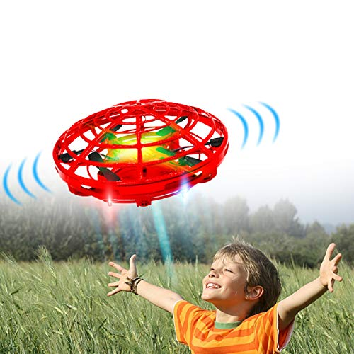 Hand Drones, Hand Operated Drones, econoLED Boy Toys Kids Hand Controlled Flying Ball Drone,Hands Free Mini Flying Ball Helicopter with 2 Speed & 5 LED Lights for Boys, Girls, Kids Gift (Light Red)