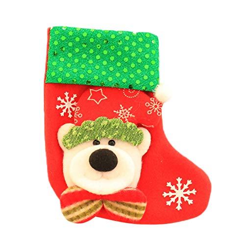 MoGist Calcetín de Navidad Creativo gestickte Lentejuelas Navidad muñeca Botas de Navidad calcetín Bolsa Árbol de Navidad Colgante, Style1, 14 * 10cm
