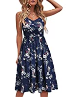 YATHON Casual Dresses for Women Sleeveless Cotton Summer Beach Dress A Line Spaghetti Strap Sundresses with Pockets (XL, YT090-Navy Floral 01)