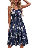 YATHON Casual Dresses for Women Sleeveless Cotton Summer Beach Dress A Line Spaghetti Strap Sundresses with Pockets (L, YT090-Navy Floral 01)