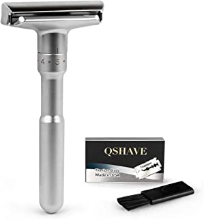 QSHAVE Adjustable Double Edge Classic Safety Razor (1 Razor & 5 pcs Titanium Coated Blades)