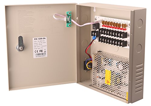 EVERSECU 9 Channel DC12V 5 Amp PTC Fuse CCTV Power Supply with Metal Box, AC Plug and Lock for Security Cameras, DVRs, IP Cameras, CCTV Cameras