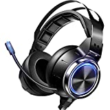 VOKYO Gaming Headset Xbox One Headset PS4 Headset with 7.1 Surround Sound, Noise Cancelling Gaming Headphone with Mic Flowing LED Soft Memory Earmuffs,Headset for Xbox One PS5 PS4 Controller PC Laptop
