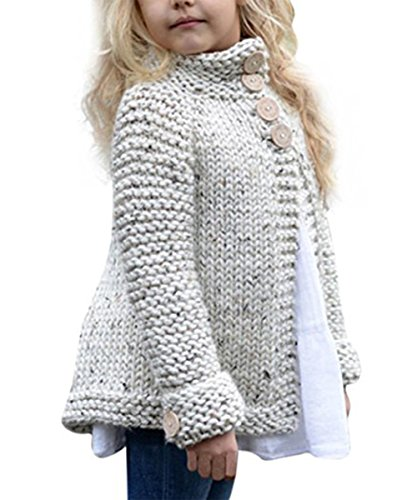 Toddler Baby Girls Autumn Winter Clothes Button Knitted Sweater Cardigan Cloak Warm Thick Coat (2T(1-2 Years), beige)