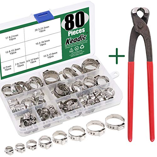 Keadic 80Pcs 1/4'-15/16' 304 Stainless Steel Single Ear Hose Clamps Pex Pinch Clamp Assortment Kit with Ear Clamp Pincer for Securing Pipe Hoses and Automotive Use