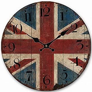 Telisha Wooden Wall Clock UK British Flag Union Jack Clock Retro Vintage Large Clock Home Decorative Country Non -Ticking Silent Quiet 14 Inch Gift