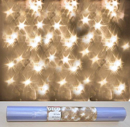 HiT Lichteffekt Folie 3D Effekt Stern Sterne Hologramm Led Lichterkette Bastelfolie, Größe:50 x 300 cm