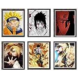 Ninja Shippuuden Naruto Uzumaki Kakashi Deidara Boruto - Póster de anime (20 x 10 cm), diseño original, juego de 6 unidades, sin marco