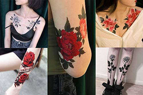 Imarisha Temporary Tattoos for Women - Colorful Flower Bohemian Vintage Inspired Realistic Rose Temporary Floral Tattoos for VSCO Girl Stuff - 5 Sheets x 2 Sets | Skin Safe | Waterproof | Removable