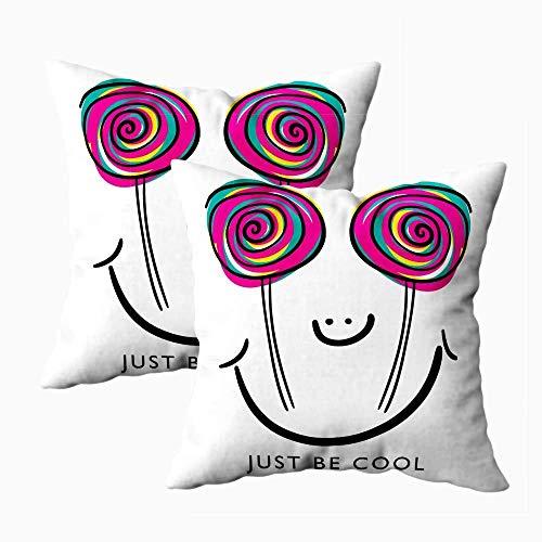 Funda de almohada artística, fundas de almohada cuadradas, 2 piezas de Halloween Just be Cool Tipografía Cara Lollipop Candy Textile Camisa gráfica Impresión en ambos lados Cojín de decoración de gran