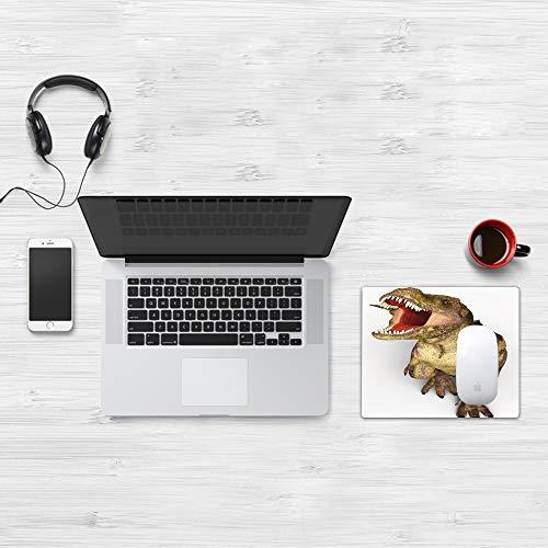 Comfortable Mouse Pad 32x25 cm,Dinosaurio, Imagen de Animal Histórico Realista Rugiente Rex con Dientes Afilados De,Base de Goma Antideslizante Wipe Washable para Gamers Ordenador, PC y Laptop32x25 cm