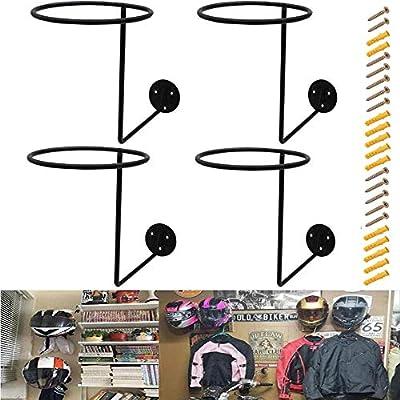 4 Pieces Wall-Mounted Motorcycle Accessories Black Helmet Holders Metal Helmet Hangers Multifunctional Helmet Racks with 12 Pieces Expansion Screws for Basketball hat Rack Jacket Hook by PEI