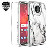 Moto Z3 Play Case with Tempered Glass Screen Protector, Rosebono Slim Hybrid Dual Layer Graphic Fashion Colorful Cover Armor Case for Motorola Moto Z Play 3rd Generation (White Marble)