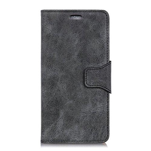 LMFULM® Hülle für OnePlus A5010 5T (6,01 Zoll) PU Leder Magnet Brieftasche Lederhülle Retro Geschäft Design Stent-Funktion Tasche Handyhülle für OnePlus A5010 5T Grau