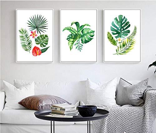 Terilizi canvas schilderij 3 stuks Noord-Afrikaanse regenwoud plant blad decoratie afbeelding zonder 40 x 60 cm x 3 geen lijst