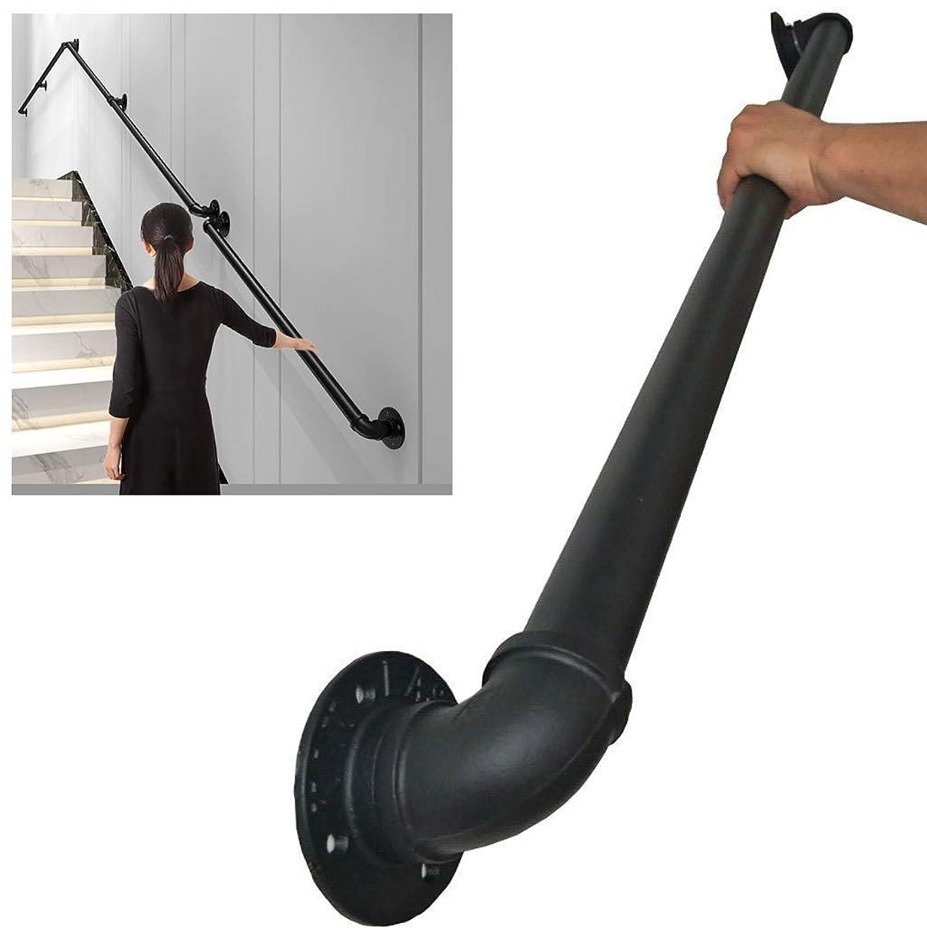 予報仕事不規則な外階段の手すり階段手摺 アイアン屋外屋内高齢者の子供滑るのを防いで倒します1-16ft黒色 (Size : L330cm-11ft)
