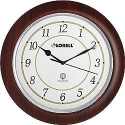 Lorell 60986 Wall Clock, Arabic Numerals, 13-1/4-Inch, White Dial/Woodgrain