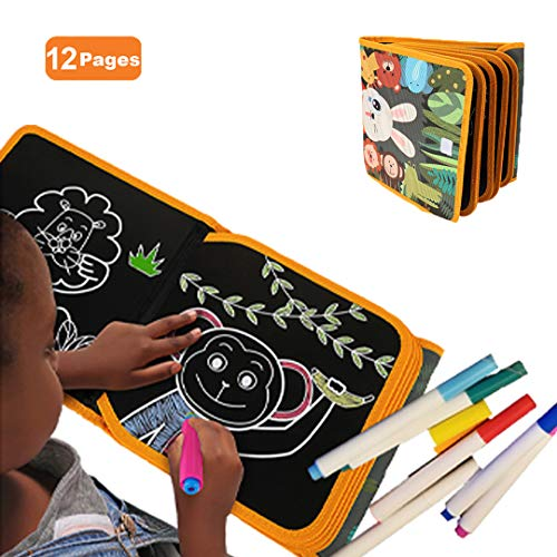SRDX Portable Erasable Doodle Book. Reuse Double-Sided Drawing Board .Great Gift For kids Toddlers Girls Boys .Car Airplane Road Trip travel Painting activity.Best Toys For age 3 4 5 6 7 8 ( FOREST)