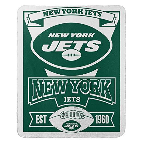 "Officially Licensed NFL New York Jets ""Marque"" Fleece Throw Blanket, Green, 50"" x 60"" (1NFL/03102/1015/AMZ)"