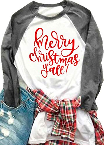 MNLYBABY Women Plus Size Merry Christmas Y'all O-Neck Baseball T-Shirt Long Raglan Sleeve Letters Print Top for Women Size XXXL (Grey)
