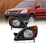 For 2002 2003 2004 Honda CR-V Black Housing [w/Amber Corner Lamp] Headlights Driver+Passenger Side Replacement