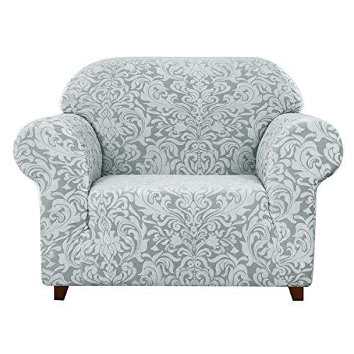 subrtex 1 Stück Damast Sofa Schonbezug Jacquard Sofabezug Hochelastisch Stretch Möbelschutz Anti-Rutsch Waschbar (Stuhl, Hellgrau)