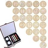 Gift Box 26 Englisch Alphabete Metall Hot Siegellack Clear Stempel Set Dia 25mm Stempel-Wachs-Siegel Empfindliche Cuprum Briefmarken