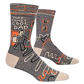 "Blue Q Men's Funny Crew Socks, Here Comes Cool Dad. 14 HERE COMES COOL DAD: Heyyyyyy, Cool Dad! Cool Dad making Cool Dad jokes, giving Cool Dad high fives, living his best Cool Dad life. Gosh, I love you, Cool Dad. VERY BEST QUALITY: this pair of Blue Q Men's Socks is woven from 50% soft, luxurious combed cotton, 48% nylon for strength, and 2% spandex for long-lasting fun. Imported. They measure 16""h x 3.25""w. ONE SIZE FITS MOST: Fits men's shoe size 7-12."