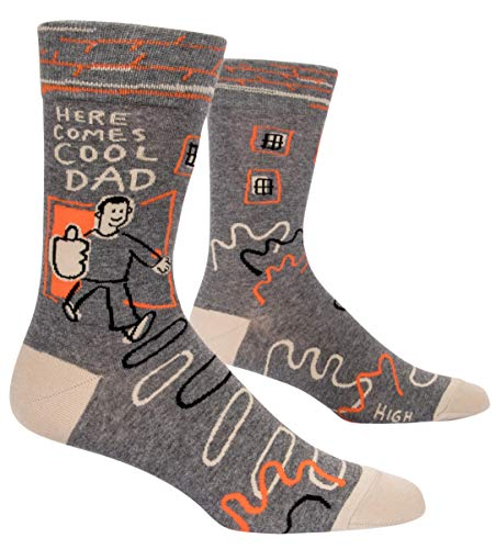 Product Image of the Blue Q Men's Funny Crew Socks, Here Comes Cool Dad.