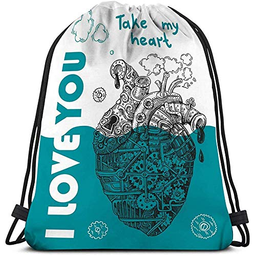 BOUIA Drawstring Bags Travel steampunk mechanical heart hand drawn style us print smart phone poster web happy valentine s steampunk buy now online