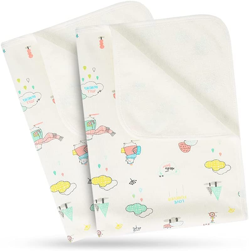 QINHU Diaper Changing Pad, Waterproof Portable Diaper Changing Mat, Reusable Underpads Bed Wetting Lncontinence Cover for Baby Toddler Children Adults and Pets 2PCS(19.7