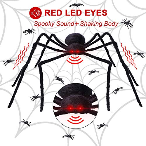 yosager Halloween Spider Decorations with Red LED Eyes and Spooky Sound, 4.1 ft Giant Scary Spider for Home Indoor and Yard Outdoor Decorations