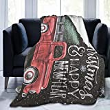 MINIOZE Vintage Retro Old Christmas Red Truck Farm Rustic Flannel Fluffy Full Fleece Throw Blanket Queen King Size Comforter Plush Soft Cozy Quilt Nursery Bedding Decor Bedroom Decorations Wearable